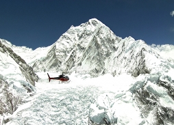 Aerial filming Simrik Mountain Rescue over Khumbu Icefall for The Discovery Channel | Helicopter aerial filming Marzano Films